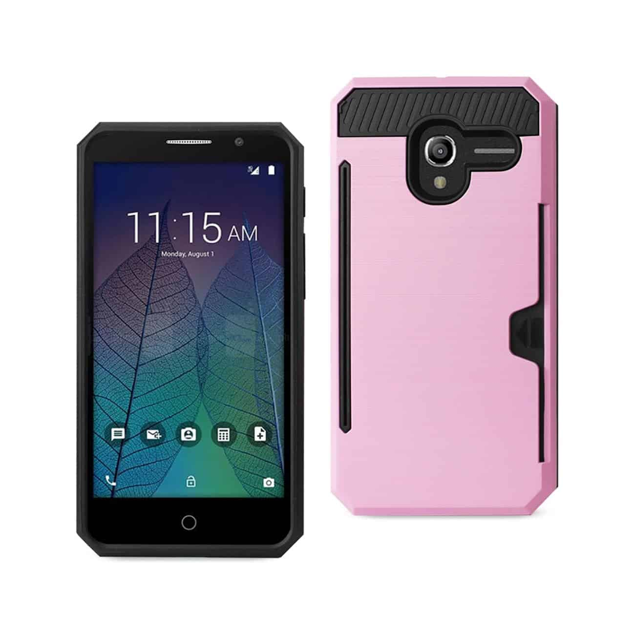 ALCATEL TRU SLIM ARMOR HYBRID CASE WITH CARD HOLDER IN PINK