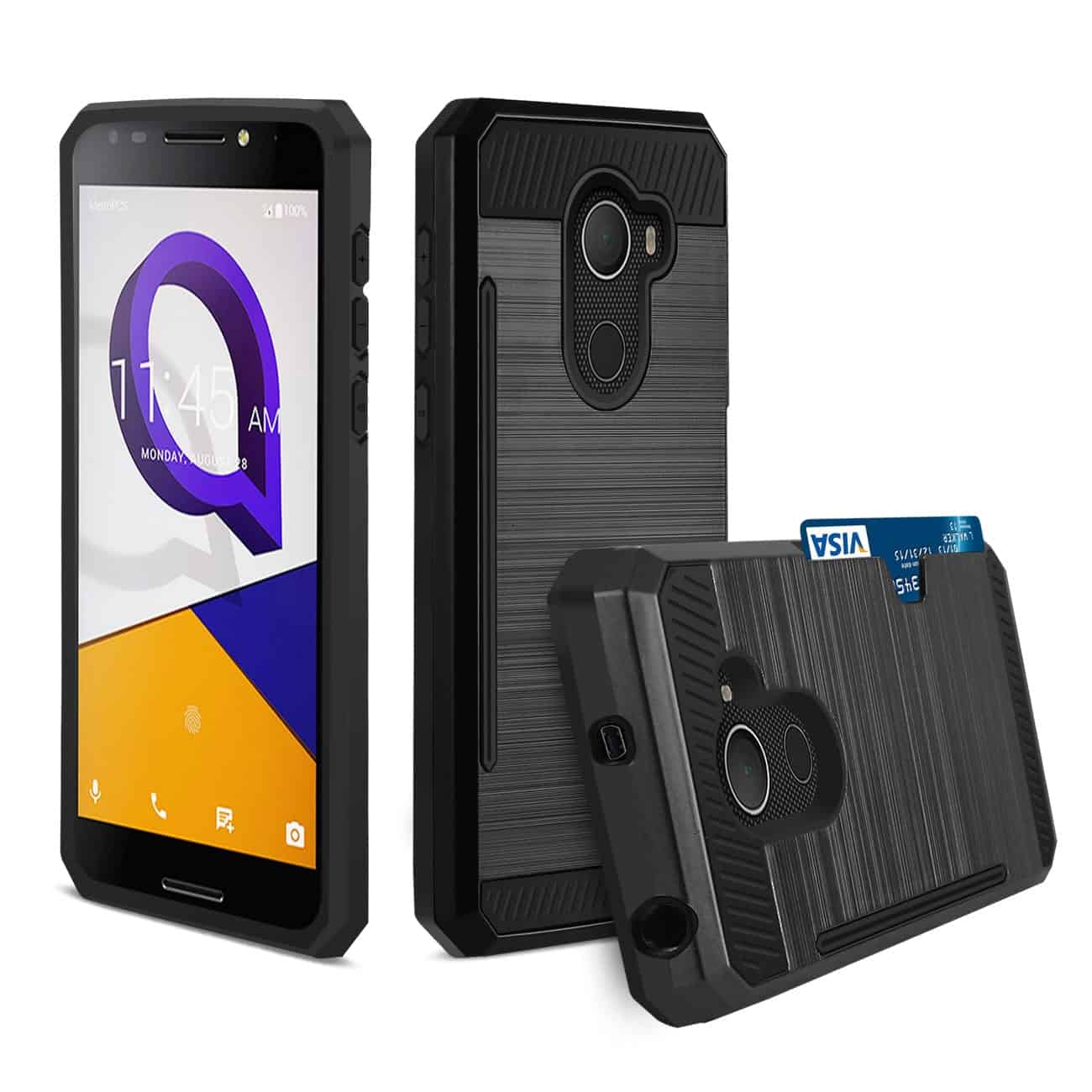 ALCATEL WALTERS SLIM ARMOR HYBRID CASE WITH CARD HOLDER IN BLACK