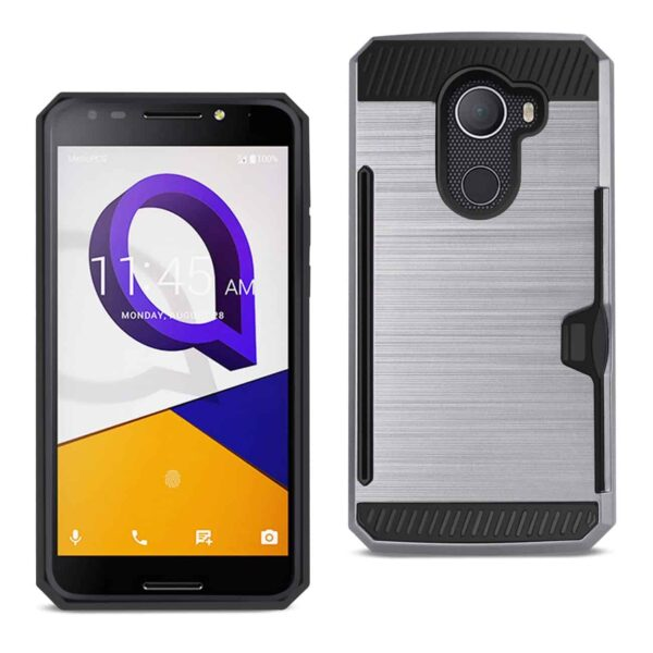 ALCATEL WALTERS SLIM ARMOR HYBRID CASE WITH CARD HOLDER IN GRAY