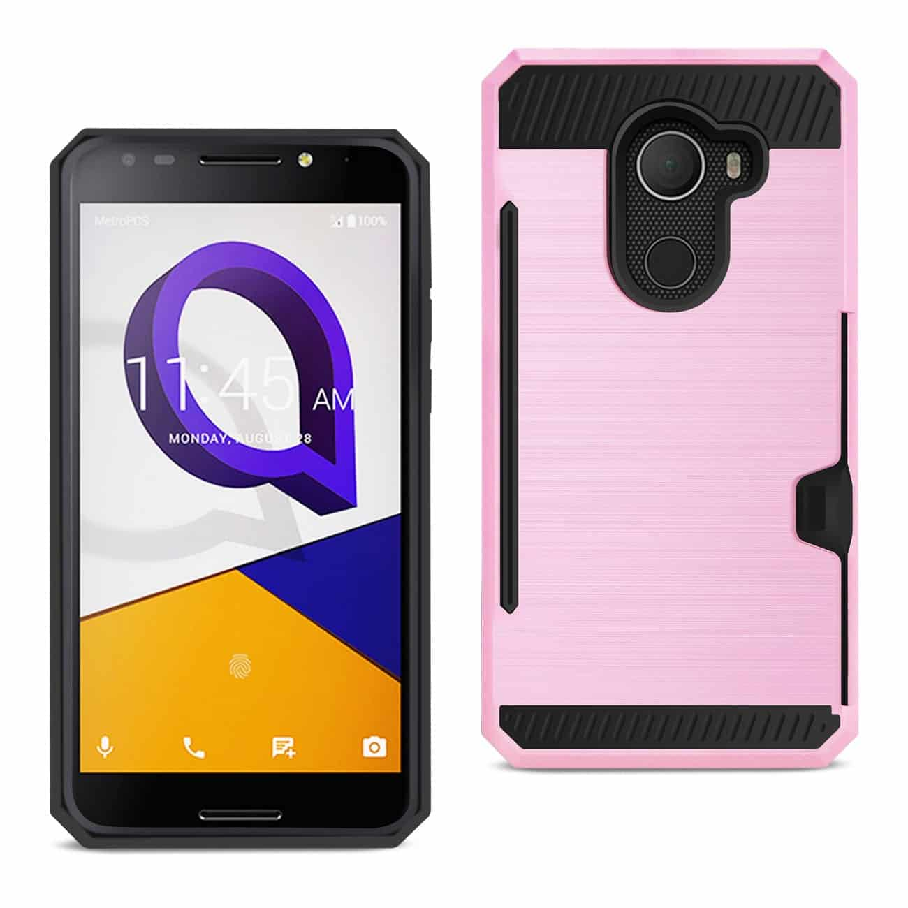 ALCATEL WALTERS SLIM ARMOR HYBRID CASE WITH CARD HOLDER IN PINK