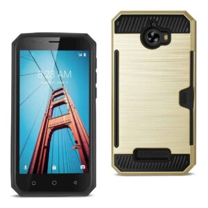 COOLPAD DEFIANT SLIM ARMOR HYBRID CASE WITH CARD HOLDER IN GOLD