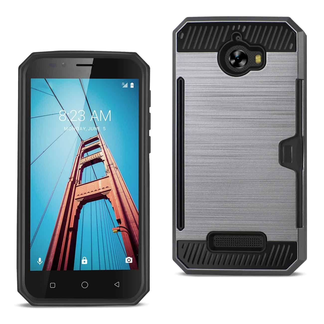 COOLPAD DEFIANT SLIM ARMOR HYBRID CASE WITH CARD HOLDER IN GRAY