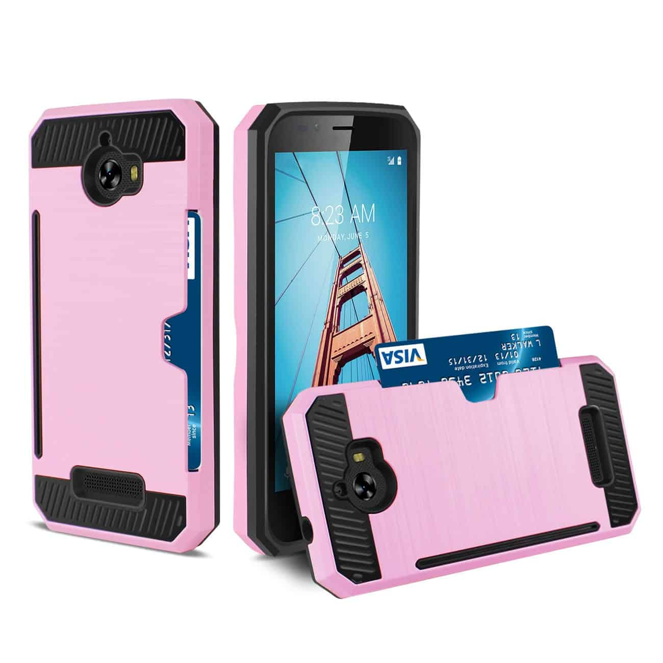 COOLPAD DEFIANT SLIM ARMOR HYBRID CASE WITH CARD HOLDER IN PINK
