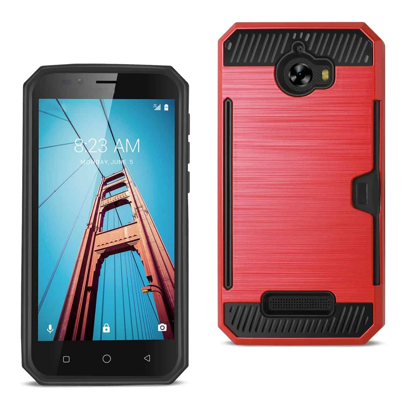 COOLPAD DEFIANT SLIM ARMOR HYBRID CASE WITH CARD HOLDER IN RED