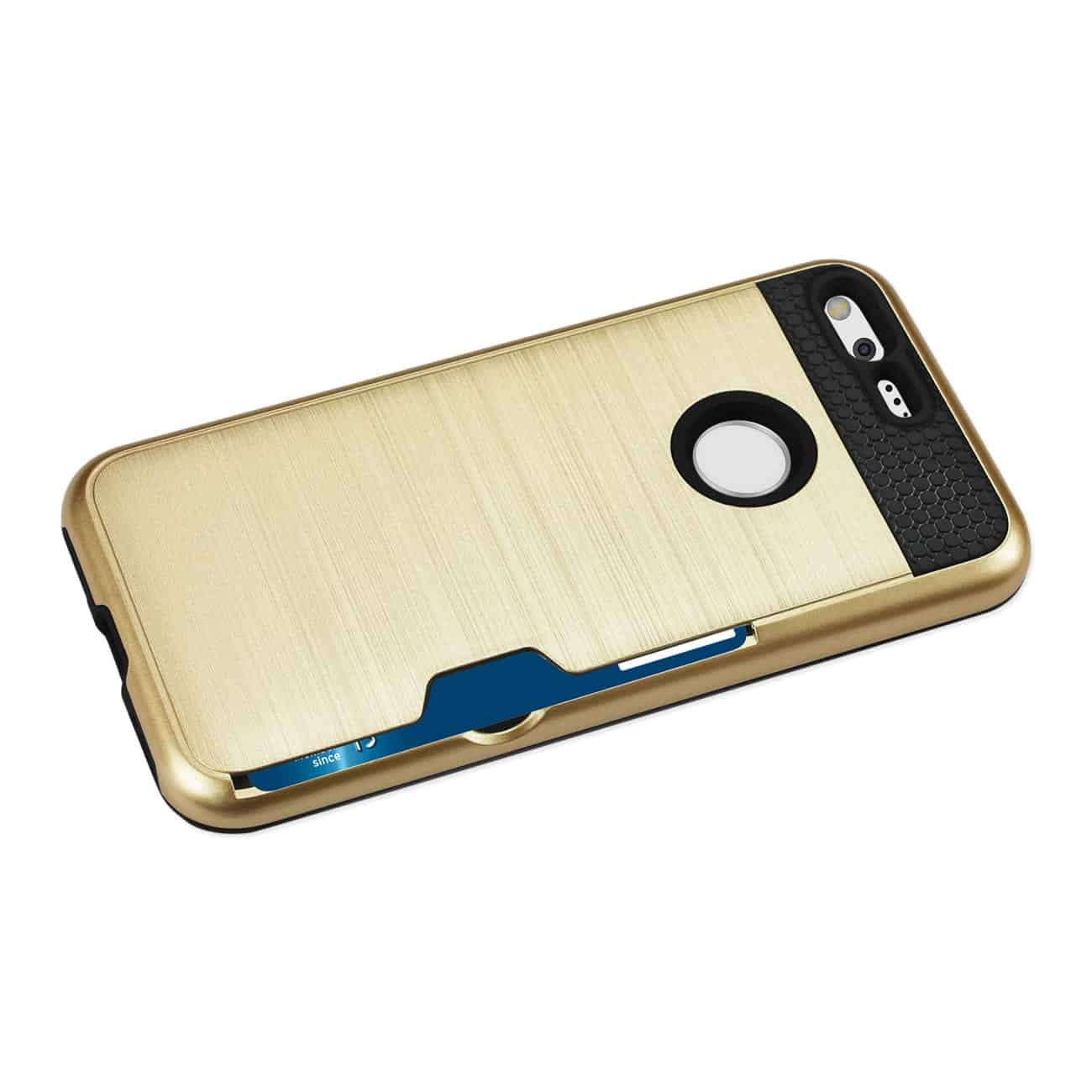 GOOGLE PIXEL SLIM ARMOR HYBRID CASE WITH CARD HOLDER IN GOLD