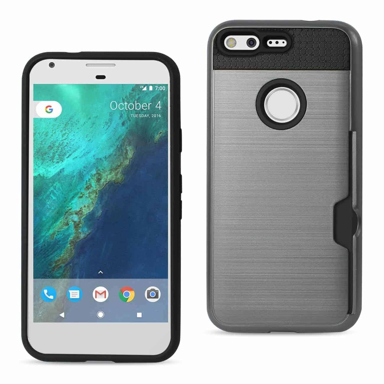 GOOGLE PIXEL SLIM ARMOR HYBRID CASE WITH CARD HOLDER IN GRAY