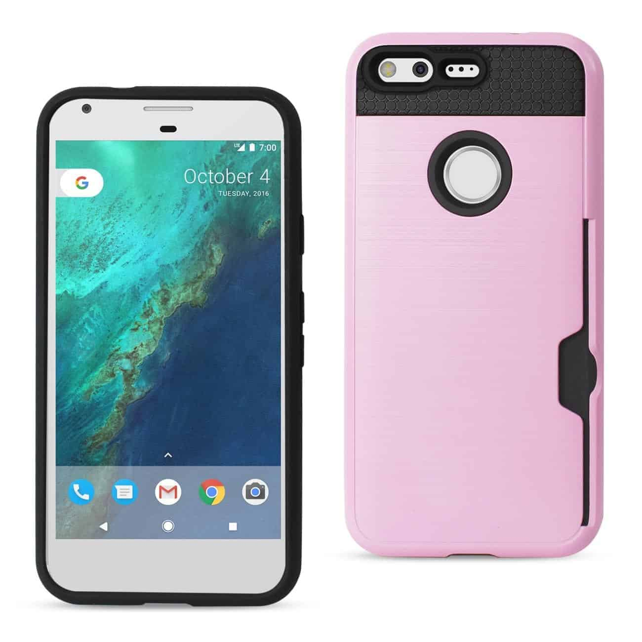 GOOGLE PIXEL SLIM ARMOR HYBRID CASE WITH CARD HOLDER IN ROSE GOLD