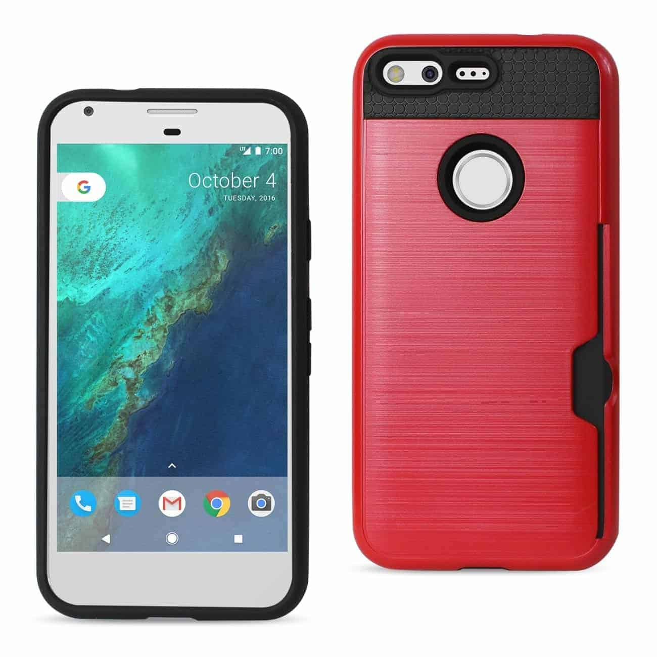 GOOGLE PIXEL SLIM ARMOR HYBRID CASE WITH CARD HOLDER IN RED