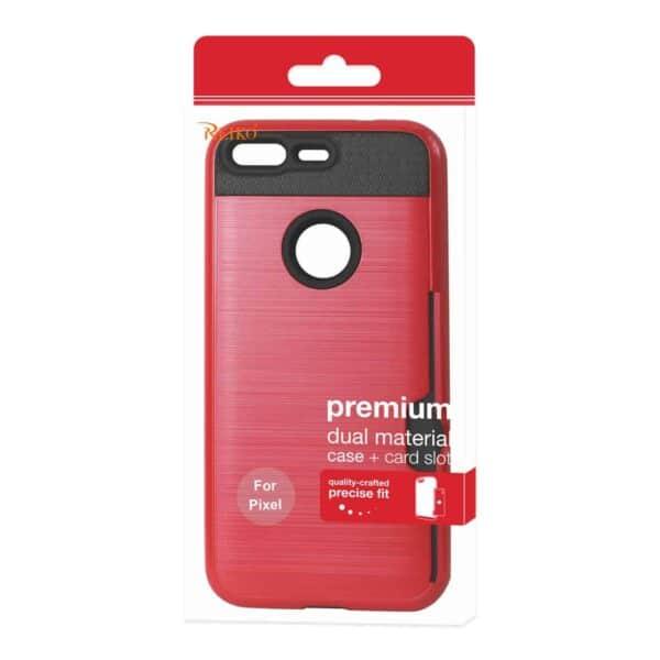 GOOGLE PIXEL SLIM ARMOR HYBRID CASE WITH CARD HOLDER IN RED