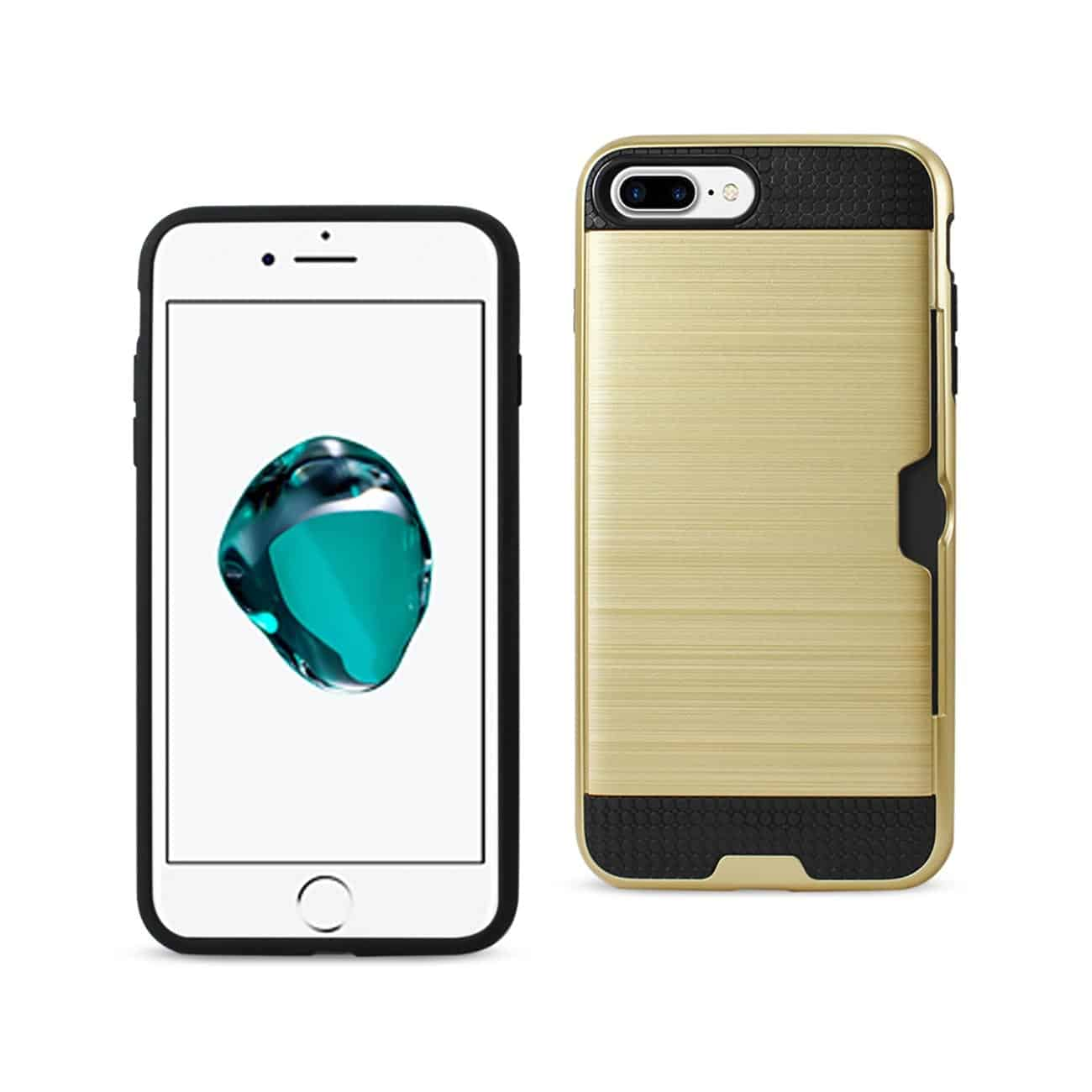 IPHONE 7 PLUS SLIM ARMOR HYBRID CASE WITH CARD HOLDER IN GOLD