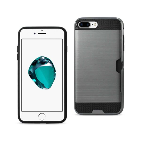 IPHONE 7 PLUS SLIM ARMOR HYBRID CASE WITH CARD HOLDER IN GRAY