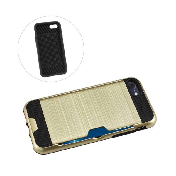 IPHONE 7 SLIM ARMOR HYBRID CASE WITH CARD HOLDER IN GOLD