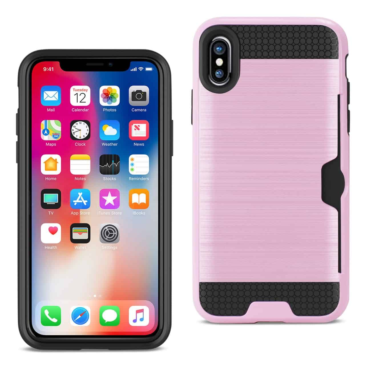 IPHONE X SLIM ARMOR HYBRID CASE WITH CARD HOLDER IN PINK