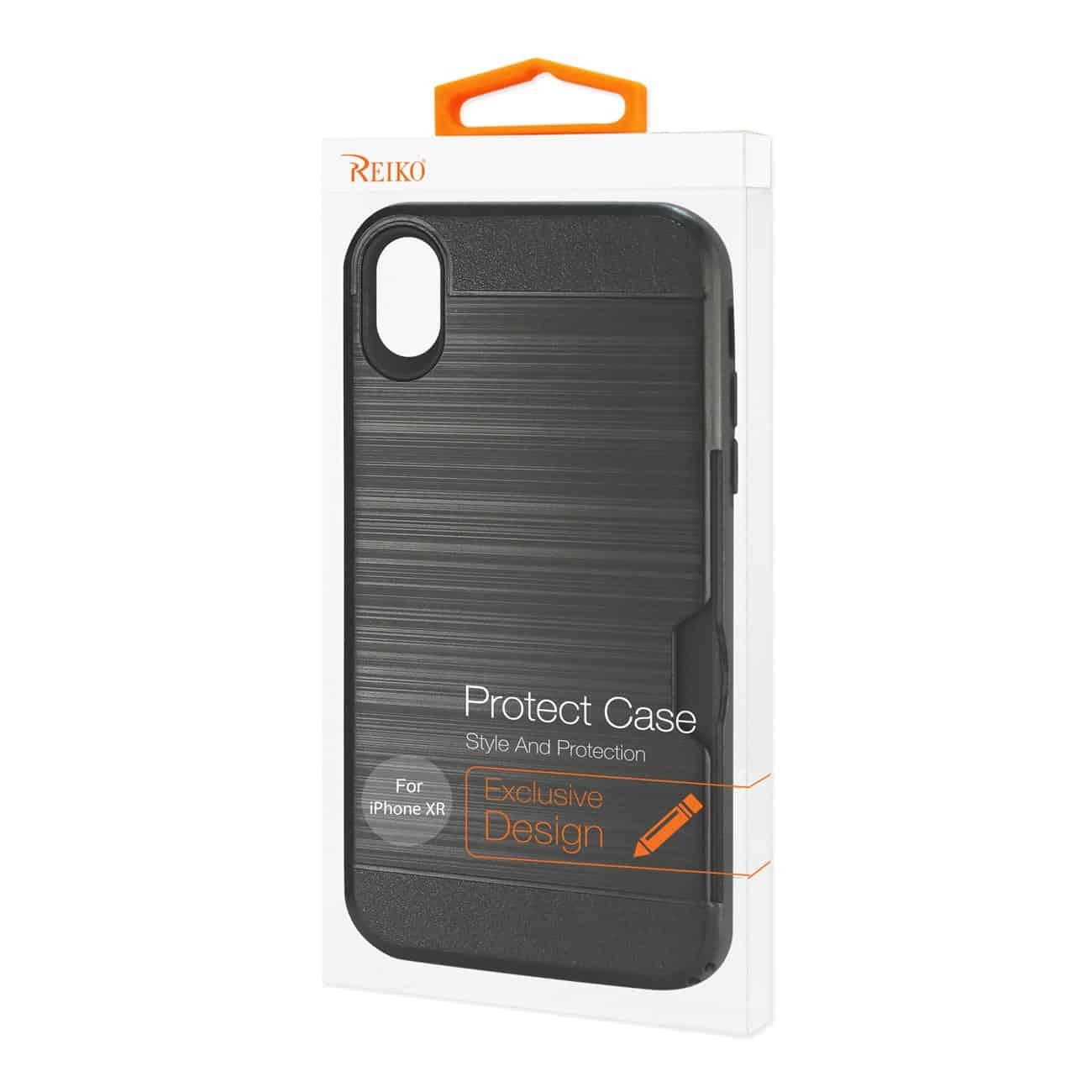 iPhone XR Slim Armor Hybrid Case With Card Holder In Black