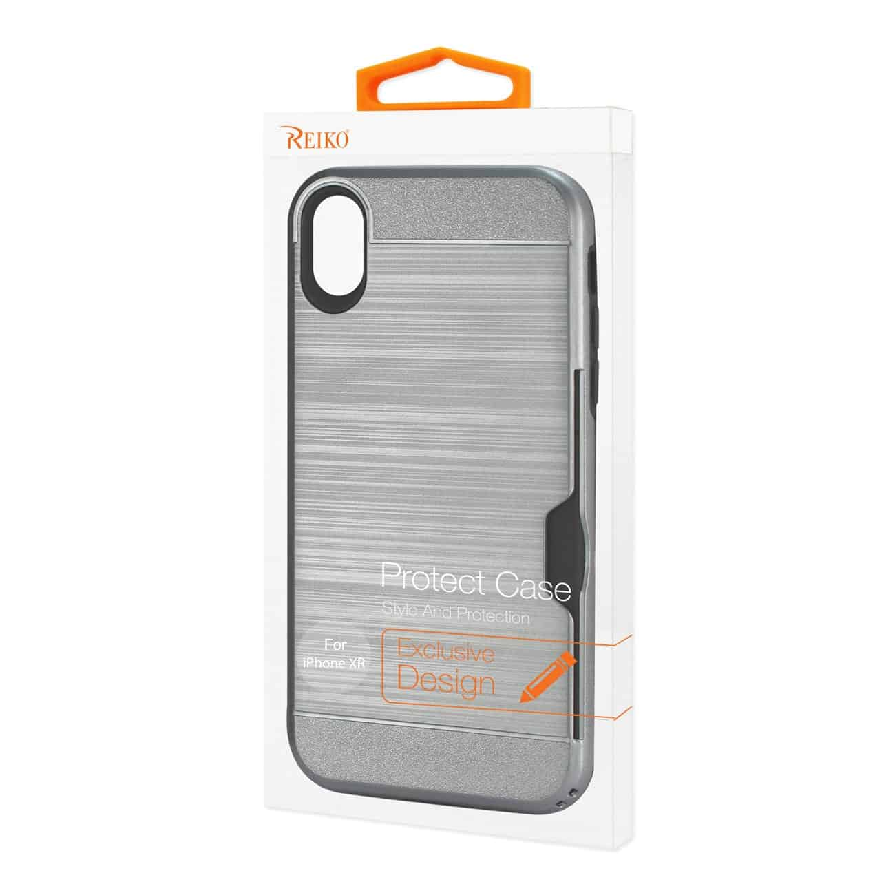 iPhone XR Slim Armor Hybrid Case With Card Holder In Gray