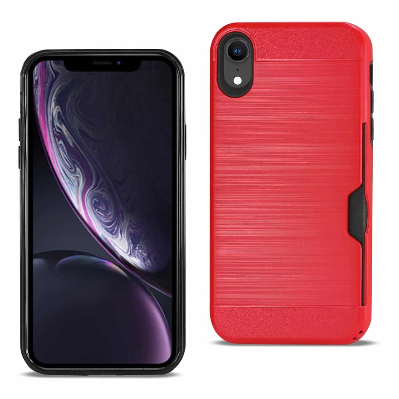 iPhone XR Slim Armor Hybrid Case With Card Holder In Red