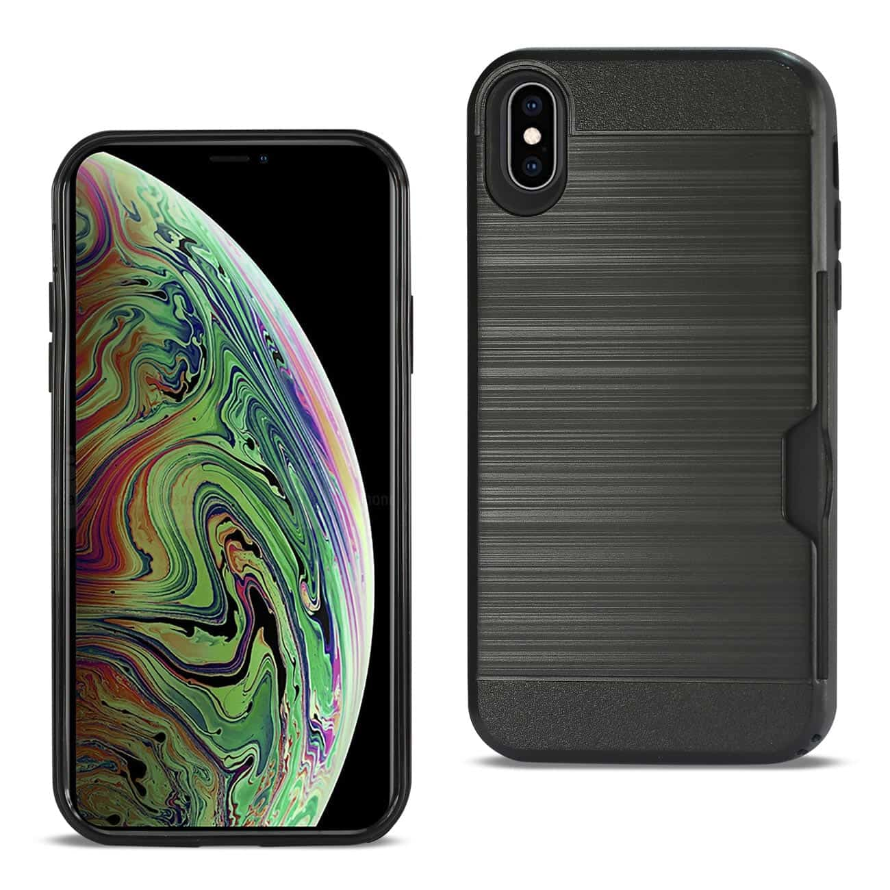 iPhone XS Max Slim Armor Hybrid Case With Card Holder In Black