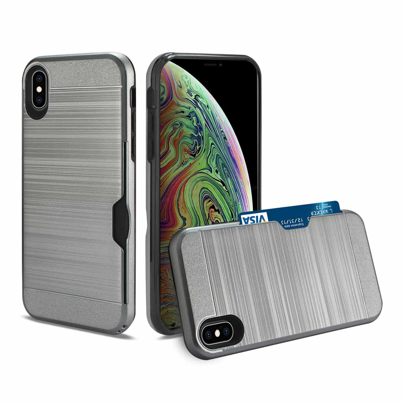 iPhone XS Max Slim Armor Hybrid Case With Card Holder In Gray