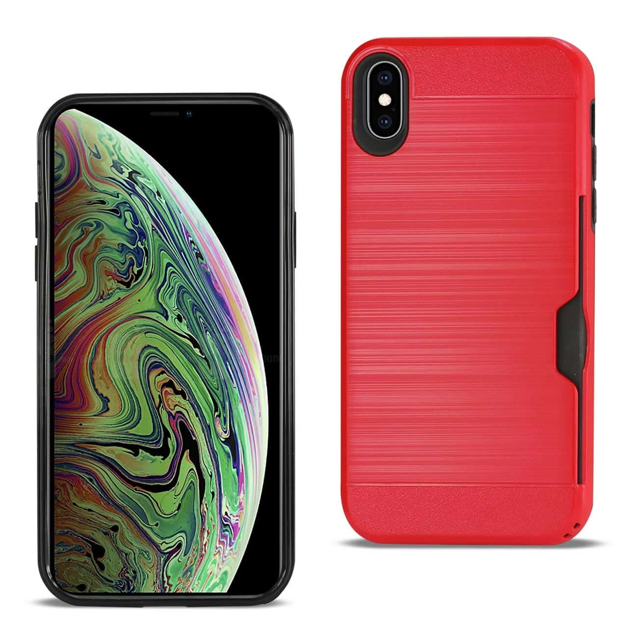 iPhone XS Max Slim Armor Hybrid Case With Card Holder In Red