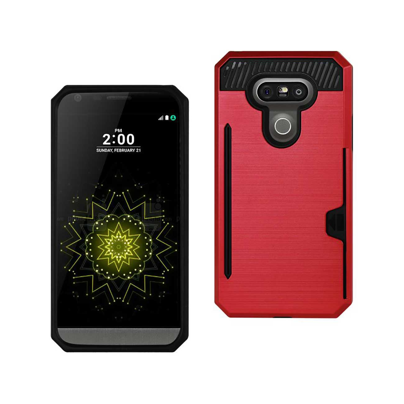 LG G5 SLIM ARMOR HYBRID CASE WITH CARD HOLDER IN RED