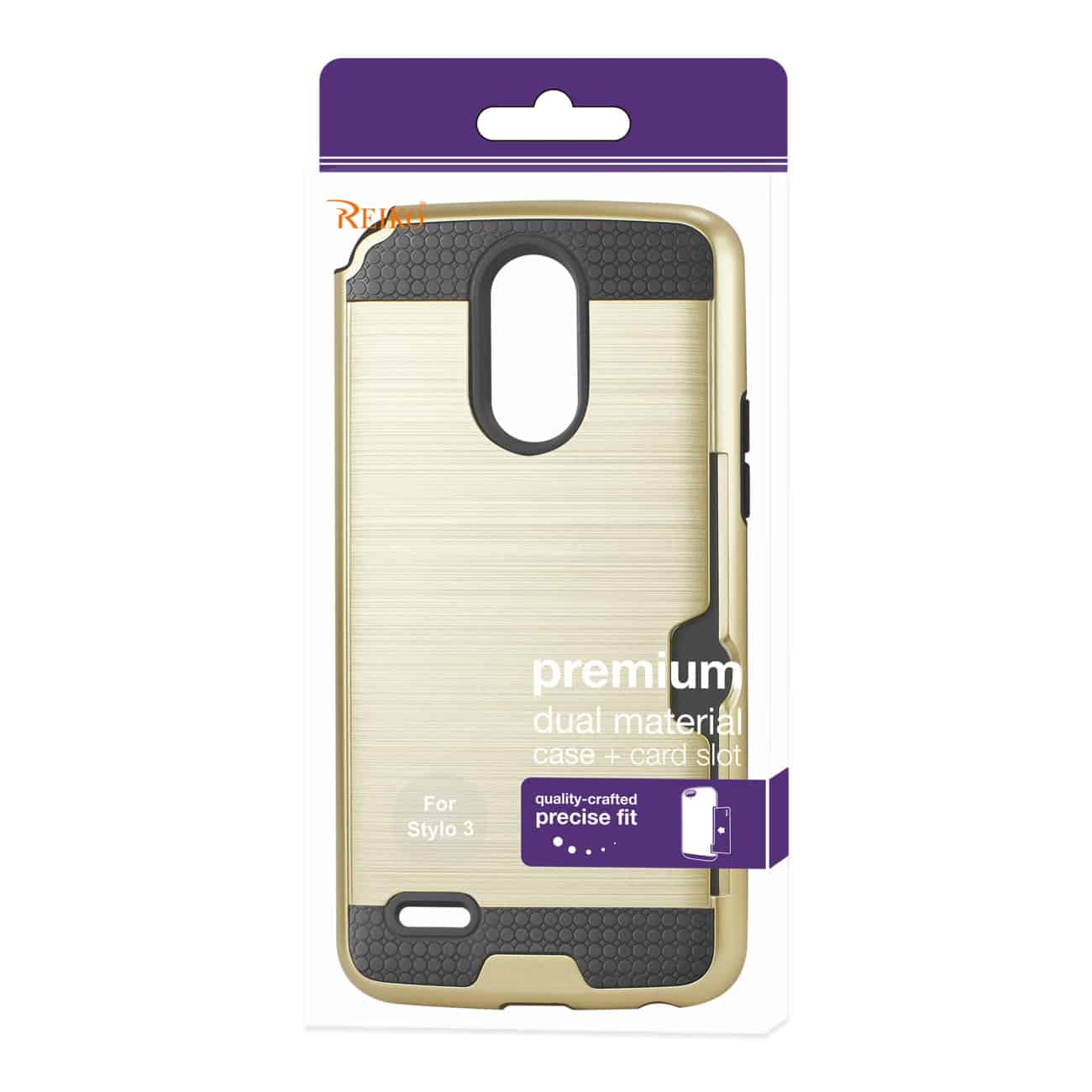 Lg Stylo 3/ Stylus 3 Slim Armor Hybrid Case With Card Holder In Gold