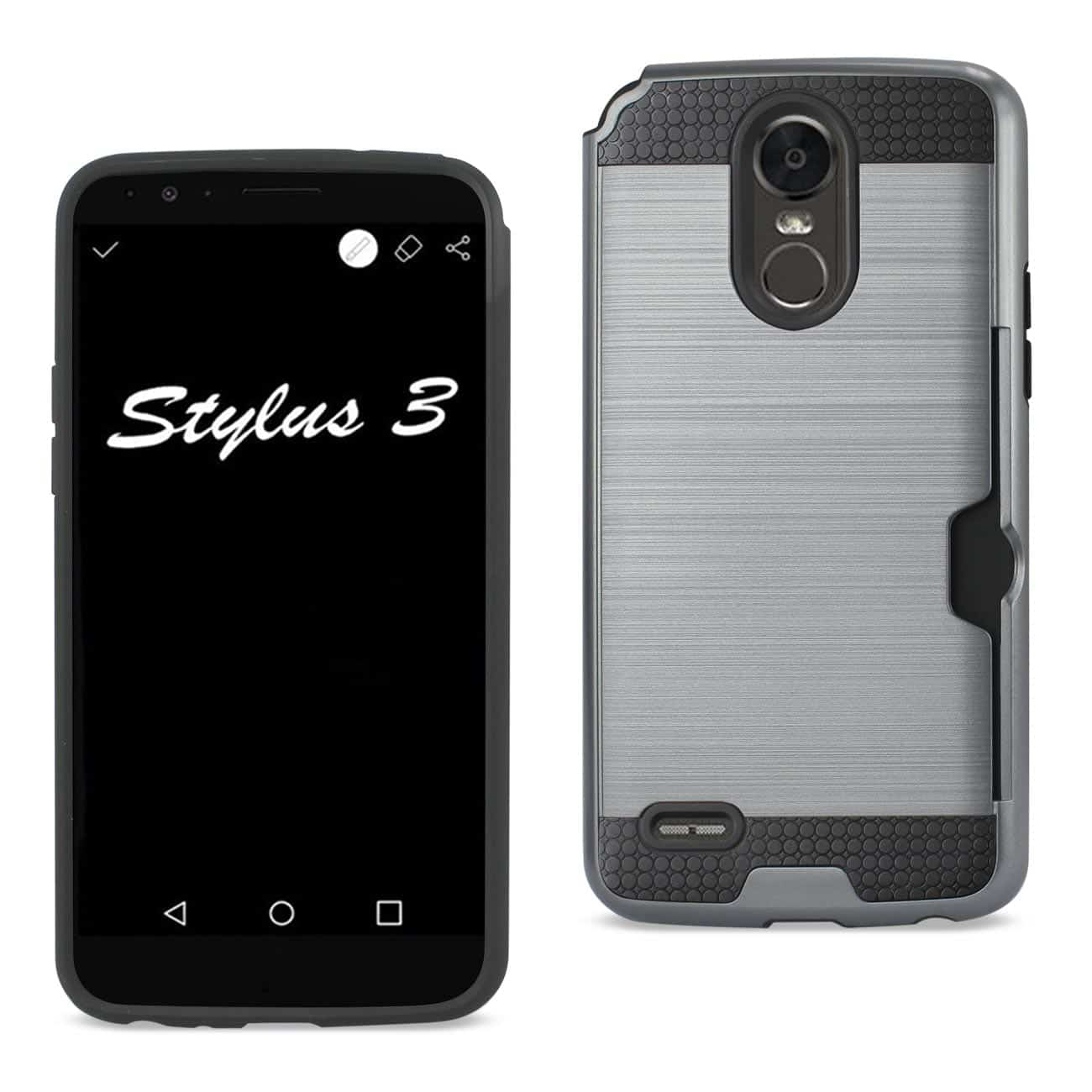 LG STYLO 3/ STYLUS 3 SLIM ARMOR HYBRID CASE WITH CARD HOLDER IN GRAY