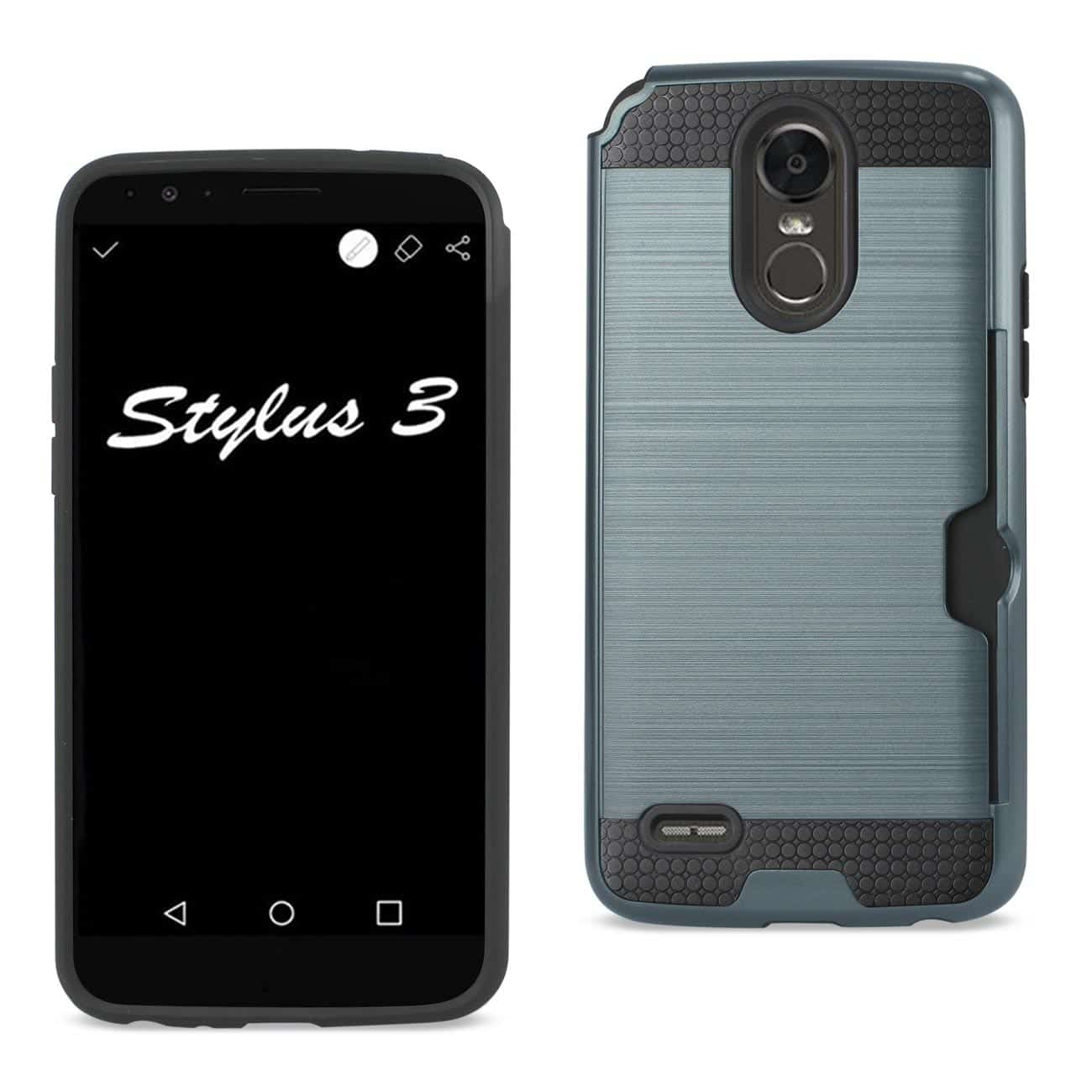 Lg Stylo 3/ Stylus 3 Slim Armor Hybrid Case With Card Holder In Navy