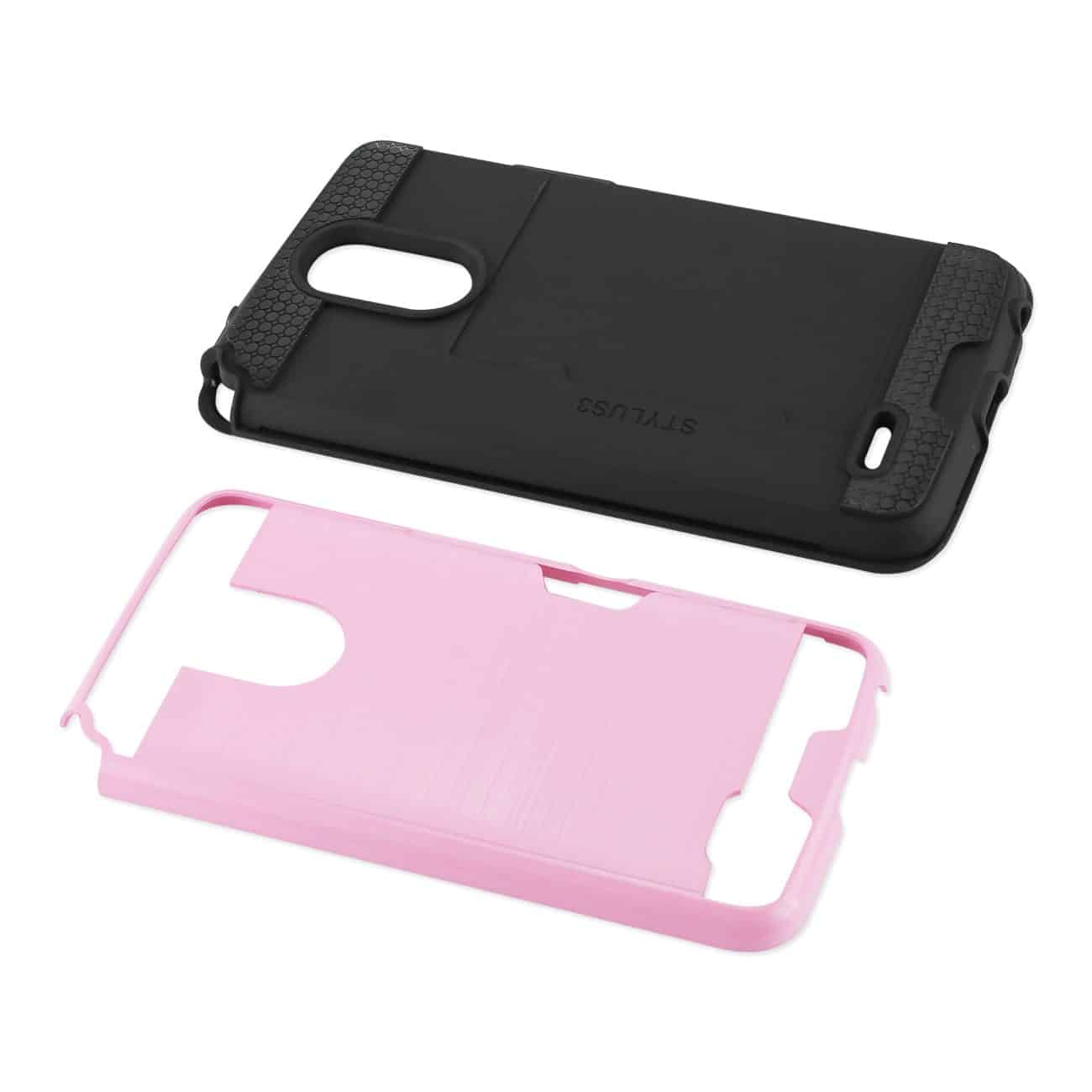 Lg Stylo 3/ Stylus 3 Slim Armor Hybrid Case With Card Holder In Pink
