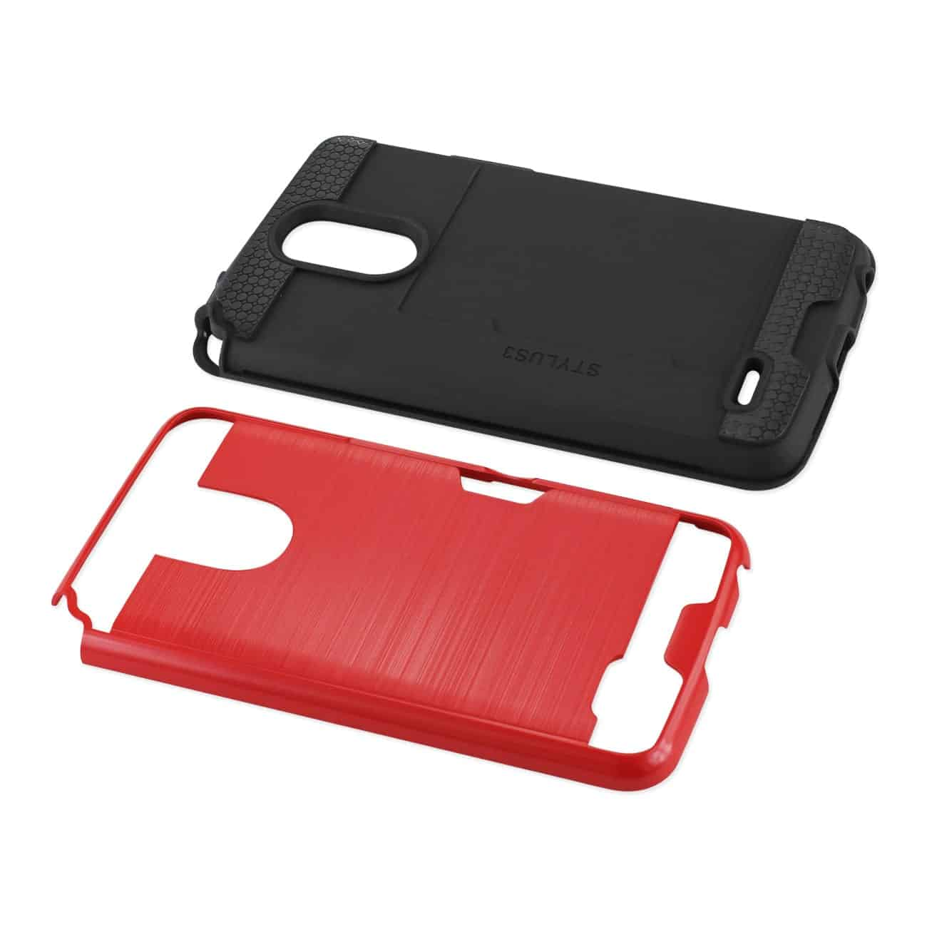 Lg Stylo 3/ Stylus 3 Slim Armor Hybrid Case With Card Holder In Red