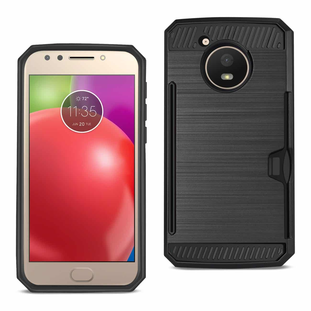 MOTOROLA MOTO E4 ACTIVE SLIM ARMOR HYBRID CASE WITH CARD HOLDER IN BLACK