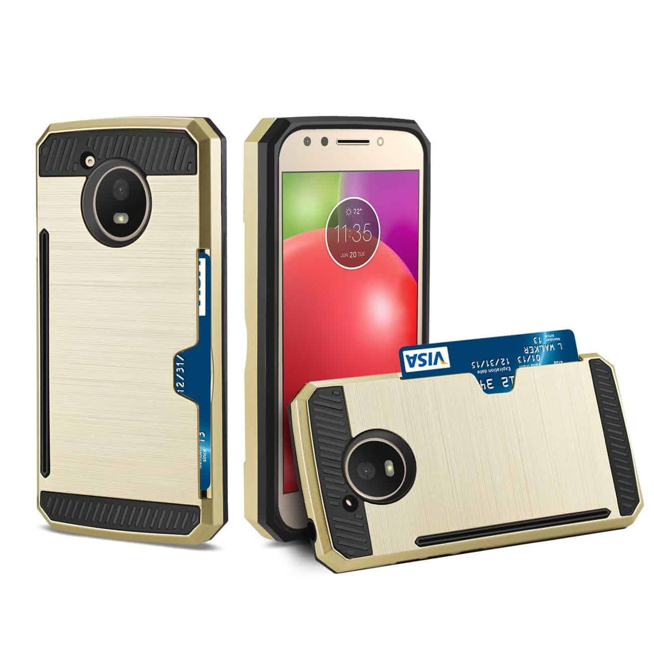 MOTOROLA MOTO E4 ACTIVE SLIM ARMOR HYBRID CASE WITH CARD HOLDER IN GOLD