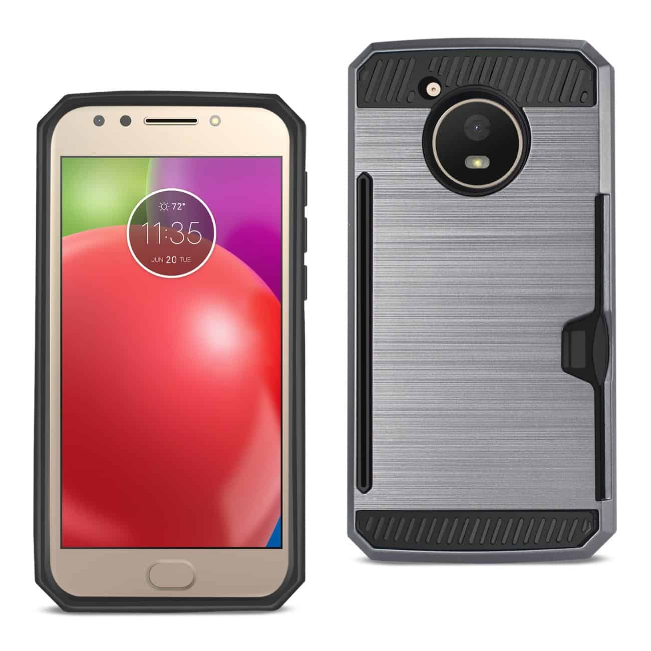 MOTOROLA MOTO E4 ACTIVE SLIM ARMOR HYBRID CASE WITH CARD HOLDER IN GRAY