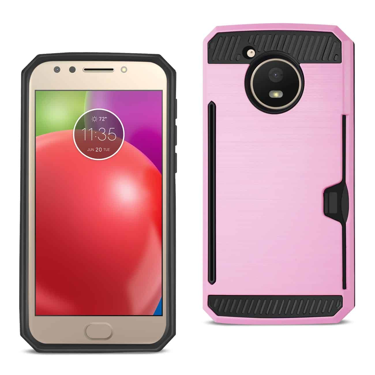 MOTOROLA MOTO E4 ACTIVE SLIM ARMOR HYBRID CASE WITH CARD HOLDER IN PINK