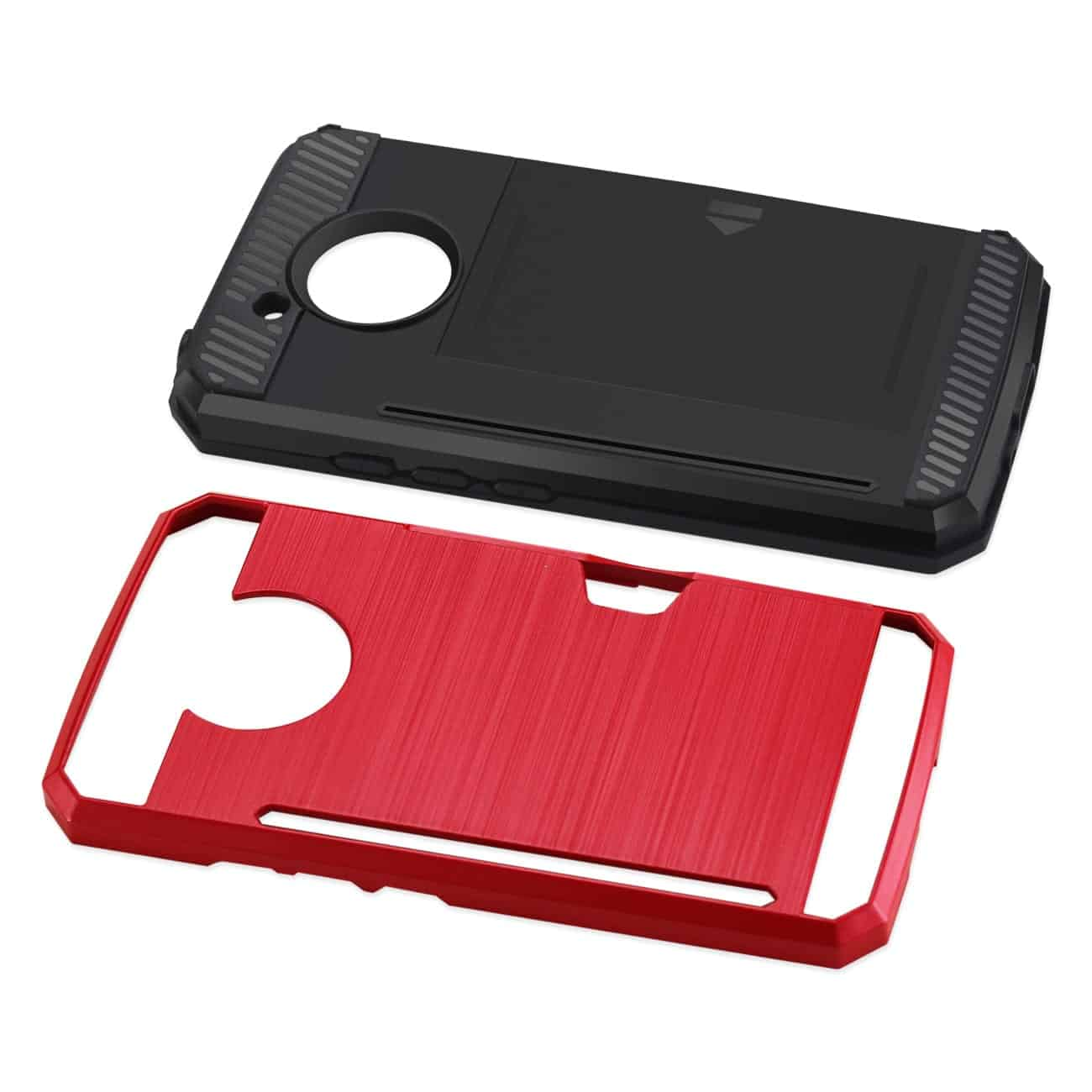 MOTOROLA MOTO E4 ACTIVE SLIM ARMOR HYBRID CASE WITH CARD HOLDER IN RED