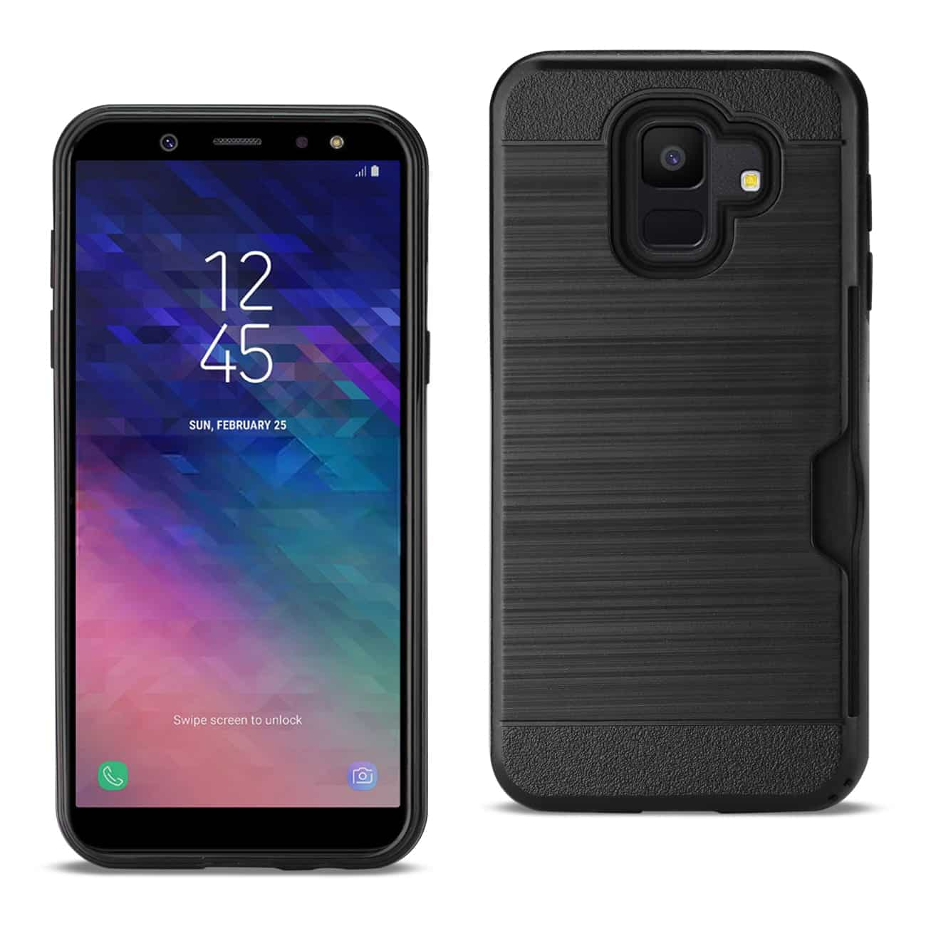 Samsung Galaxy A6 Slim Armor Hybrid Case With Card Holder In Black
