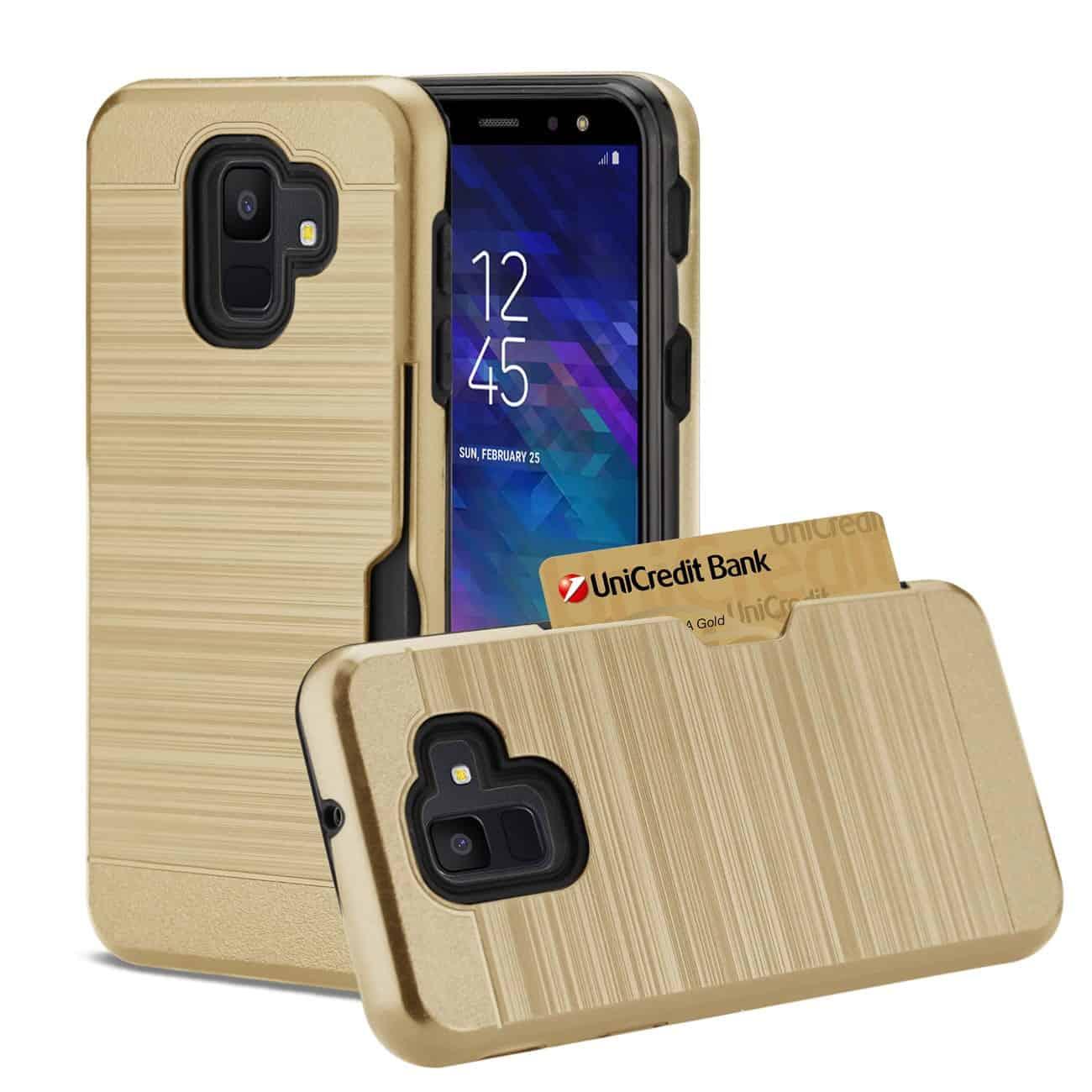 Samsung Galaxy A6 Slim Armor Hybrid Case With Card Holder In Gold