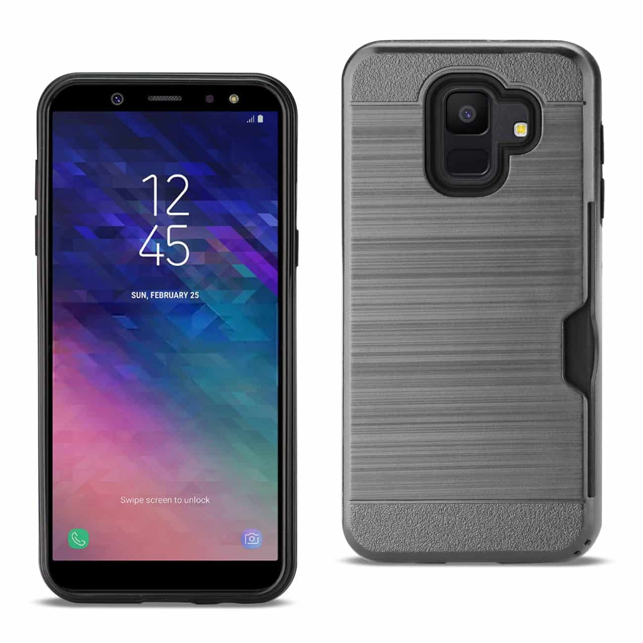 Samsung Galaxy A6 Slim Armor Hybrid Case With Card Holder In Gray