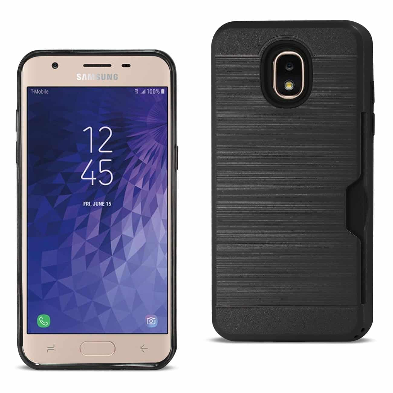 Samsung J3(2018) Slim Armor Hybrid Case With Card Holder In Black