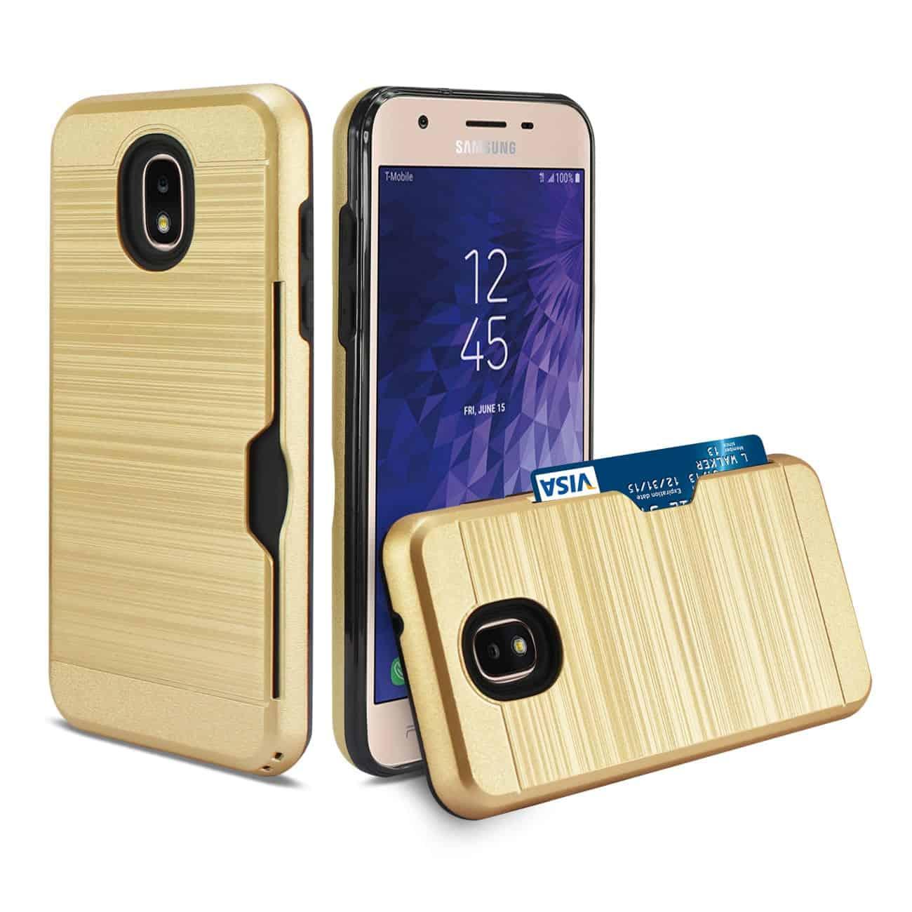 Samsung J3(2018) Slim Armor Hybrid Case With Card Holder In Gold