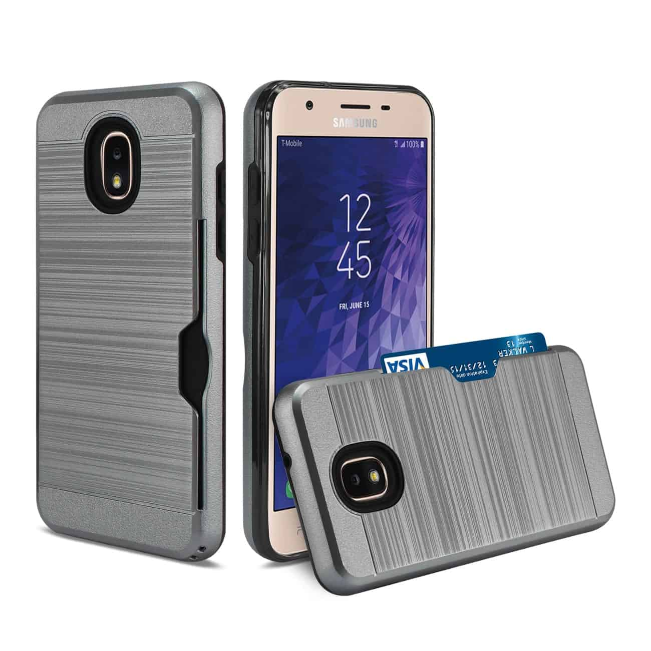 Samsung J3(2018) Slim Armor Hybrid Case With Card Holder In Gray