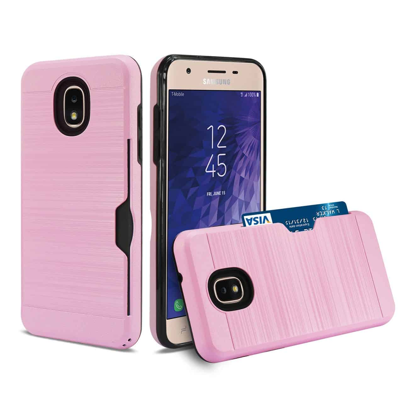 Samsung J3(2018) Slim Armor Hybrid Case With Card Holder In Pink