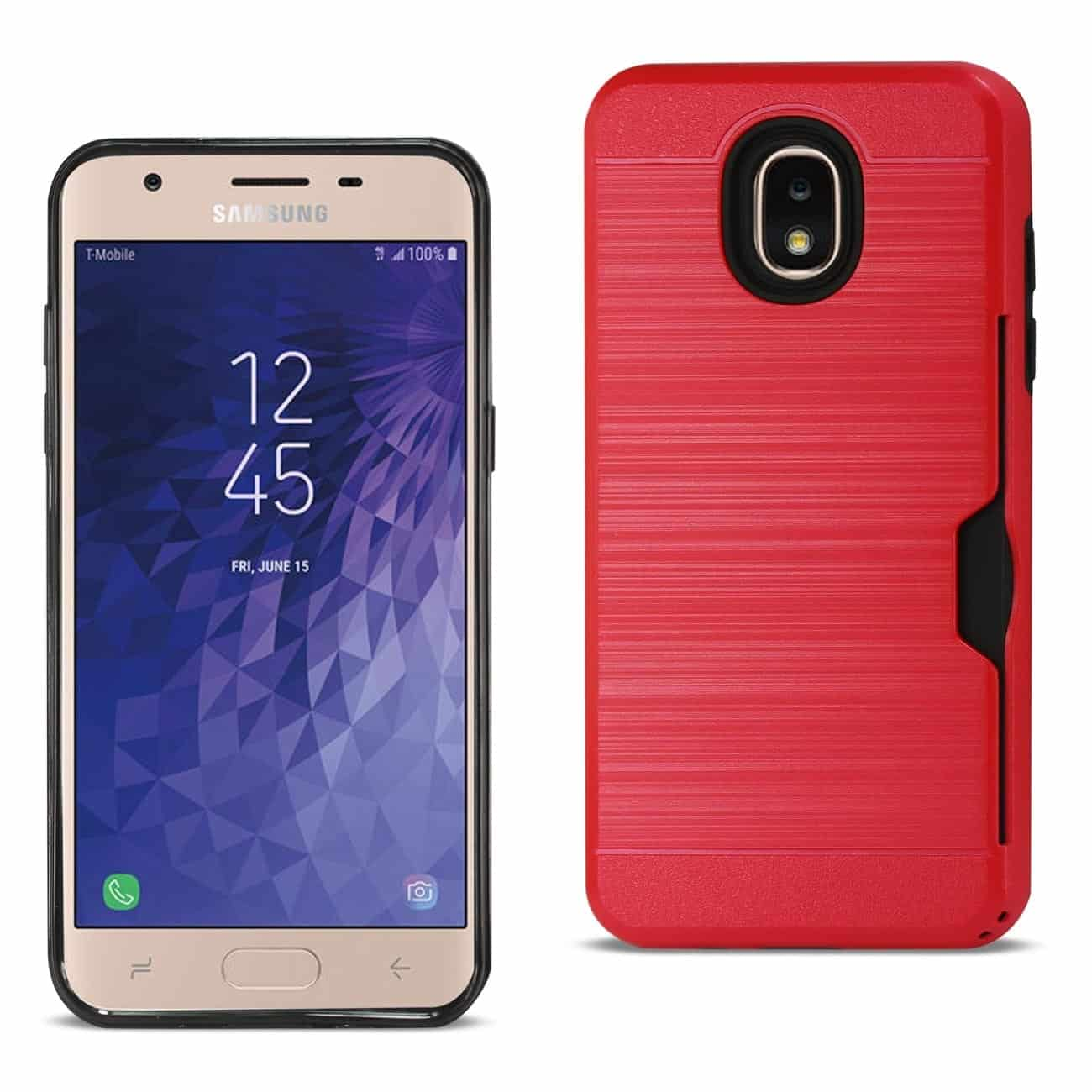 Samsung J3(2018) Slim Armor Hybrid Case With Card Holder In Red