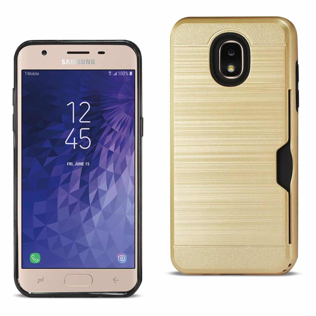 Samsung J7(2018) Slim Armor Hybrid Case With Card Holder In Gold