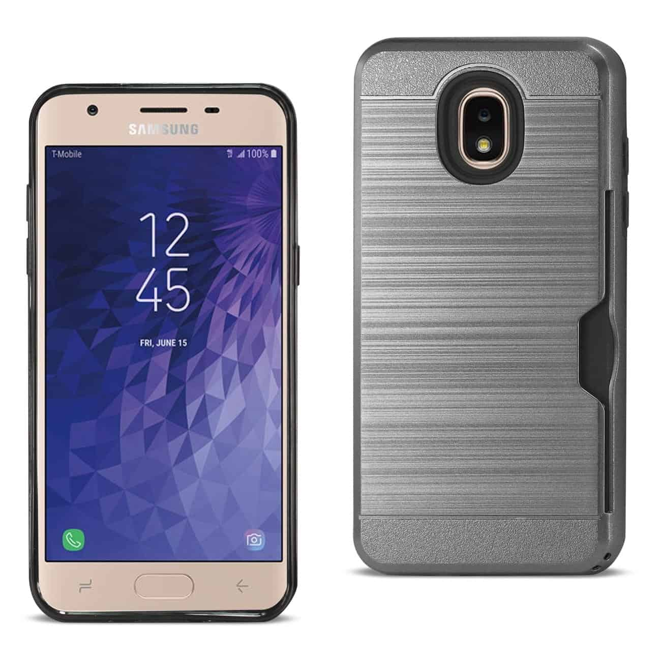 Samsung J7(2018) Slim Armor Hybrid Case With Card Holder In Gray