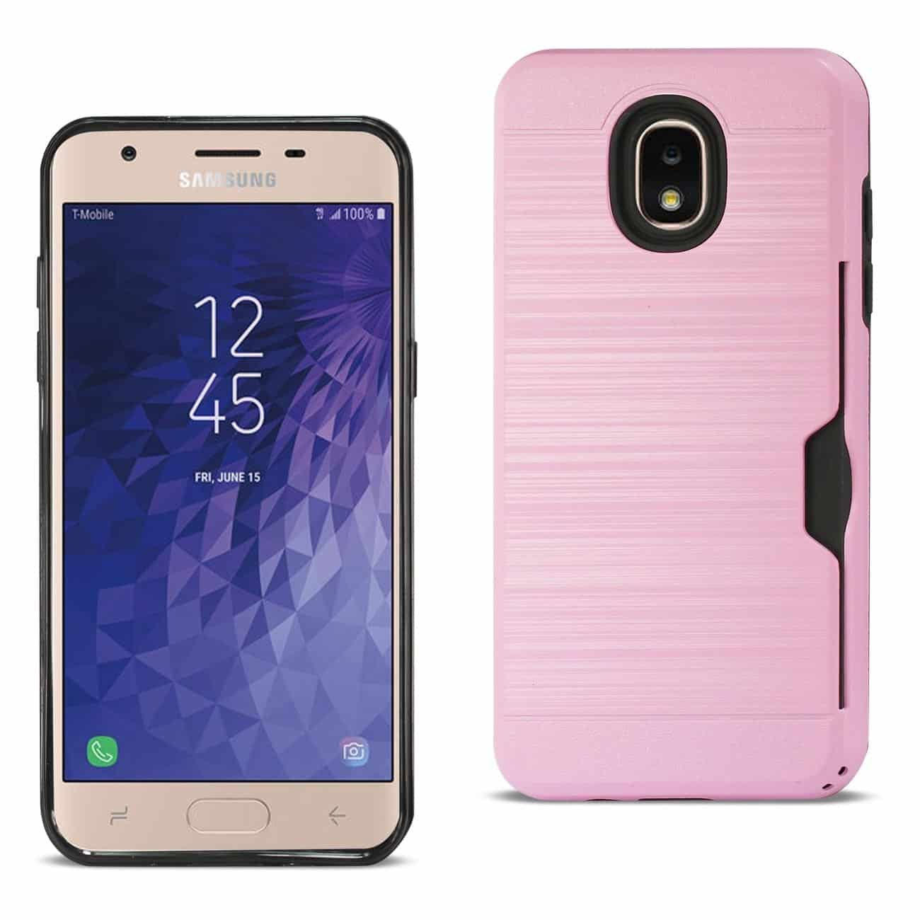 Samsung J7(2018) Slim Armor Hybrid Case With Card Holder In Pink