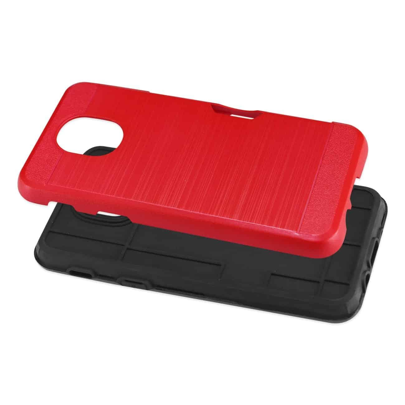 Samsung J7(2018) Slim Armor Hybrid Case With Card Holder In Red