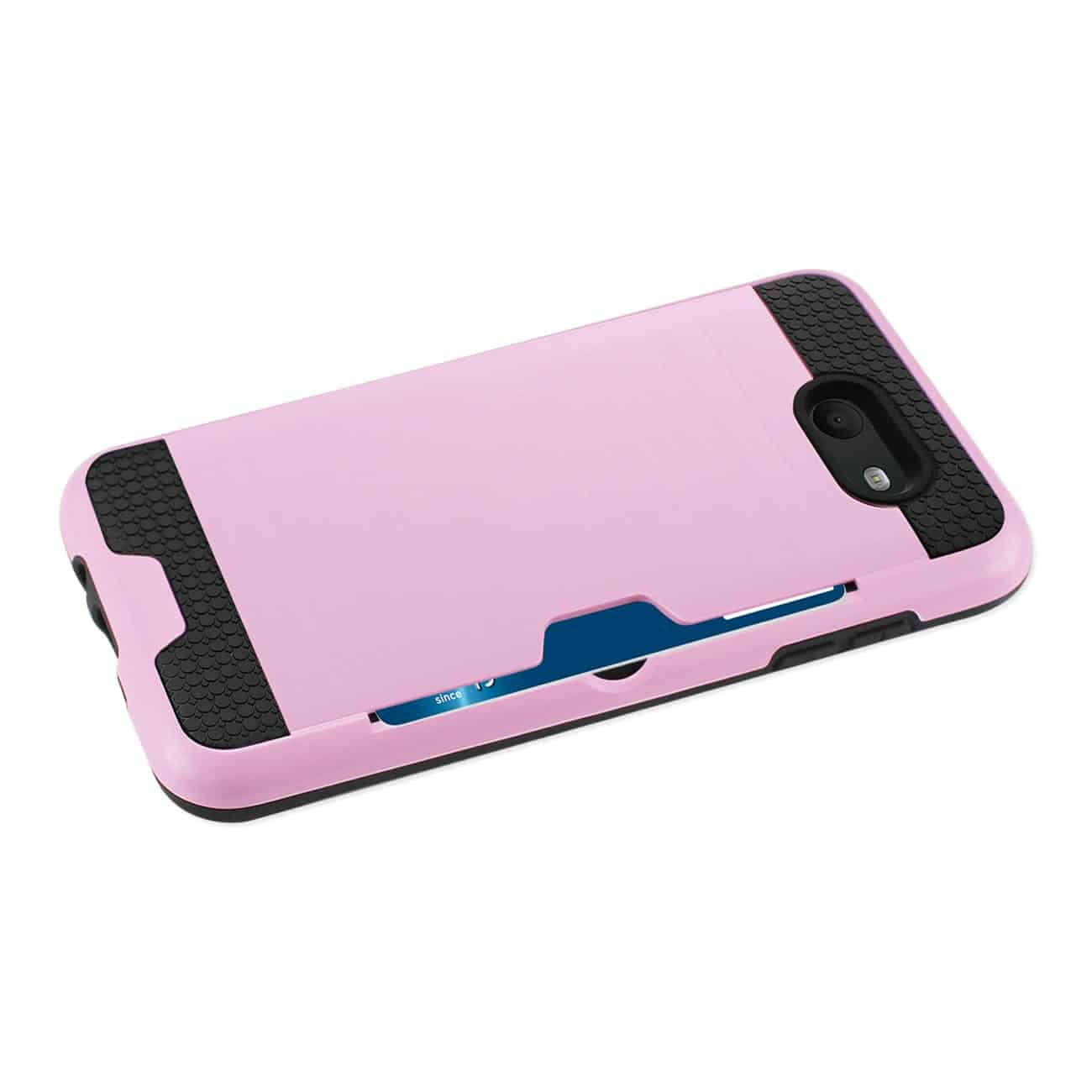 SAMSUNG GALAXY J7 V (2017) SLIM ARMOR HYBRID CASE WITH CARD HOLDER IN PINK