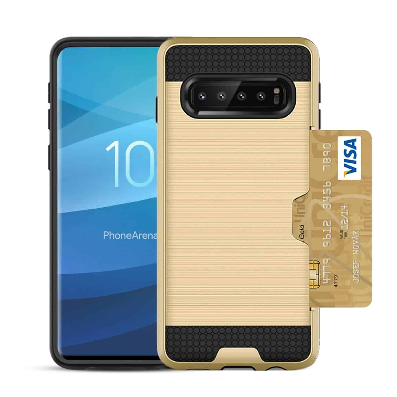 SAMSUNG GALAXY S10 Slim Armor Hybrid Case With Card Holder In Gold