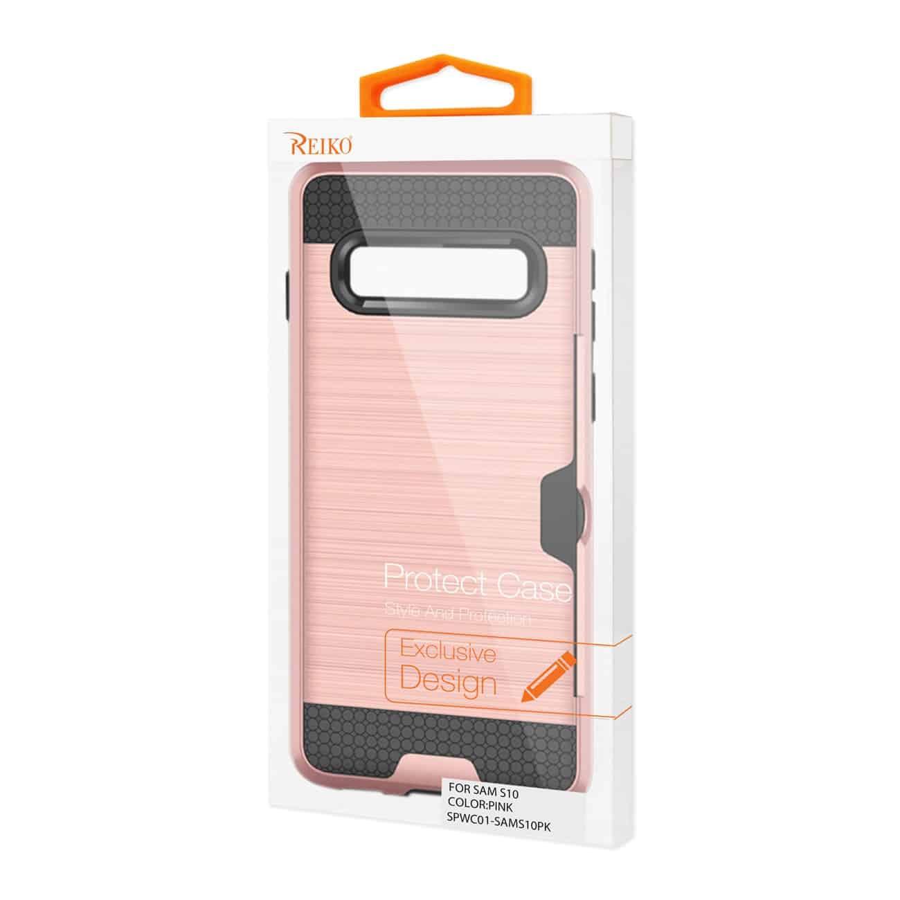 SAMSUNG GALAXY S10 Slim Armor Hybrid Case With Card Holder In Pink