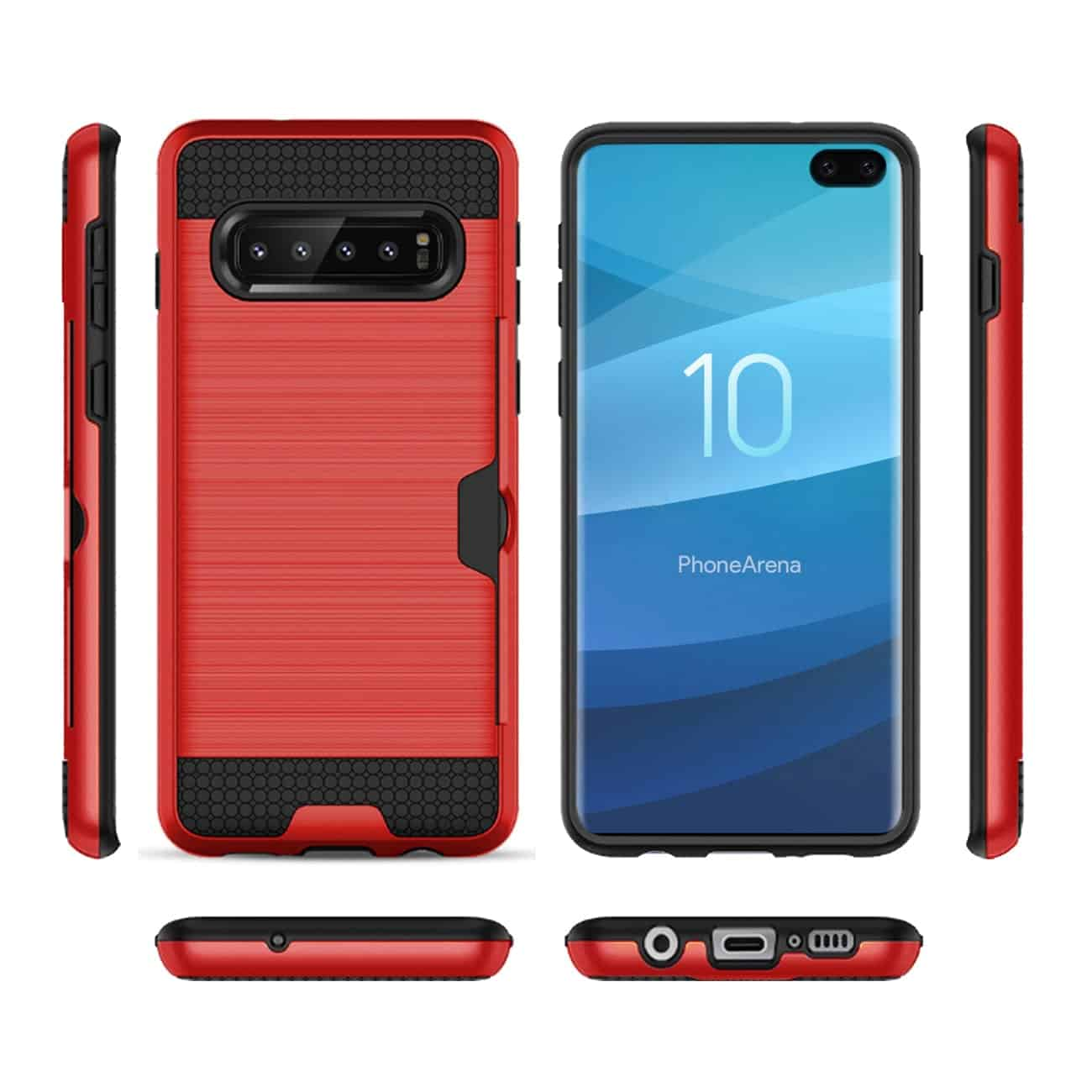 SAMSUNG GALAXY S10 Plus Slim Armor Hybrid Case With Card Holder In Red